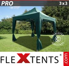 Folding canopy PRO 3x3 m Green, incl. 4 decorative curtains