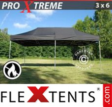 Folding canopy Xtreme 3x6 m Black, Flame retardant