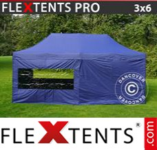 Folding canopy PRO 3x6 m Dark blue, incl. 6 sidewalls