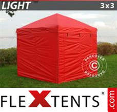 Folding canopy Light 3x3 m Red, incl. 4 sidewalls