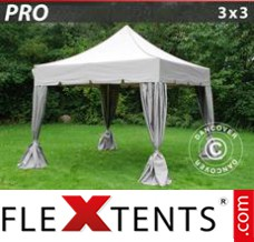 "Folding canopy PRO ""Peaked"" 3x3 m Latte, incl. 4 decorative curtains"