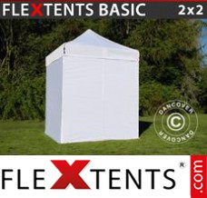 Folding canopy Basic, 2x2 m White, incl. 4 sidewalls