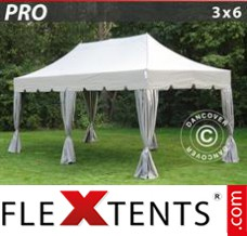 "Folding canopy PRO ""Peaked"" 3x6 m Latte, incl. 6 decorative curtains"