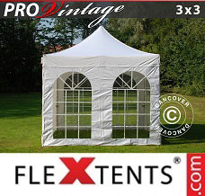 Folding canopy PRO Vintage Style 3x3 m White, incl. 4 sidewalls