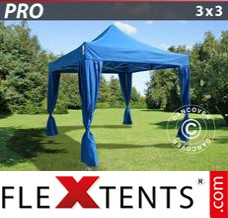 Folding canopy PRO 3x3 m Blue, incl. 4 decorative curtains