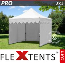 "Folding canopy PRO ""Morocco"" 3x3 m White, incl. 4 sidewalls"