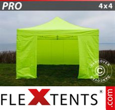 Folding canopy PRO 4x4 m Neon yellow/green, incl. 4 sidewalls
