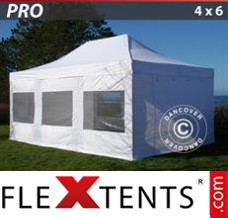 Folding canopy PRO 4x6 m White, incl. 8 sidewalls