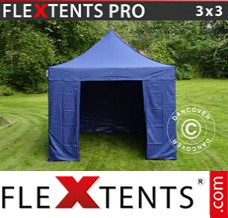 Folding canopy PRO 3x3 m Dark blue, incl. 4 sidewalls