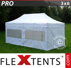 "Folding canopy PRO ""Morocco"" 3x6 m White, incl. 6 sidewalls"