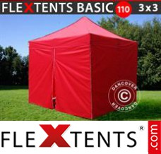 Folding canopy Basic 110, 3x3 m Red, incl. 4 sidewalls