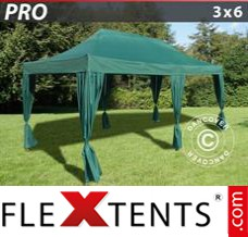 Folding canopy PRO 3x6 m Green, incl. 6 decorative curtains