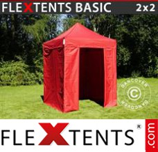 Folding canopy Basic, 2x2 m Red, incl. 4 sidewalls
