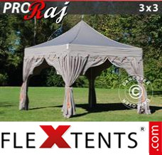 "Folding canopy PRO ""Raj"" 3x3 m Latte/Orange"