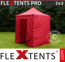 Folding canopy PRO 2x2 m Red, incl. 4 sidewalls