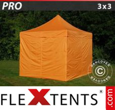 Folding canopy PRO 3x3 m Orange, incl. 4 sidewalls