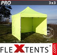 Folding canopy PRO 3x3 m Neon yellow/green, incl. 4 sidewalls