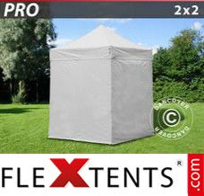 Folding canopy PRO 2x2 m White, incl. 4 sidewalls