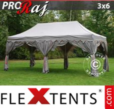 "Folding canopy PRO ""Raj"" 3x6 m Latte/Orange"