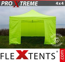 Folding canopy Xtreme 4x4 m Neon yellow/green, incl. 4 sidewalls