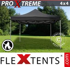Folding canopy Xtreme 4x4 m Black, Flame retardant
