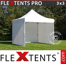 Folding canopy PRO 3x3 m White, incl. 4 sidewalls