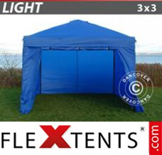 Folding canopy Light 3x3 m Blue, incl. 4 sidewalls