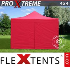 Folding canopy Xtreme 4x4 m Red, incl. 4 sidewalls