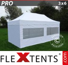 "Folding canopy PRO ""Peaked"" 3x6 m White, incl. 6 sidewalls"