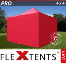 Folding canopy PRO 4x4 m Red, incl. 4 sidewalls