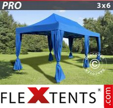Folding canopy PRO 3x6 m Blue, incl. 6 decorative curtains