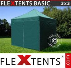 Folding canopy Basic, 3x3 m Green, incl. 4 sidewalls