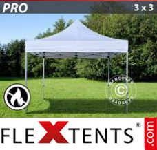 Folding canopy PRO 3x3 m White, Flame retardant