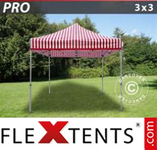 Folding canopy PRO 3x3 m striped