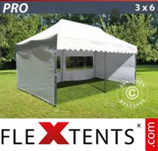 "Folding canopy PRO ""Wave"" 3x6 m White, incl. 6 sidewalls"