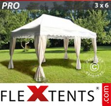 "Folding canopy PRO ""Wave"" 3x6 m White, incl. 6 decorative curtains"