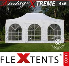 Folding canopy Xtreme Vintage Style 4x6 m White, incl. 8 sidewalls