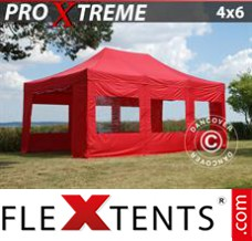 Folding canopy Xtreme 4x6 m Red, incl. 8 sidewalls