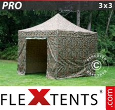 Folding canopy PRO 3x3 m Camouflage/Military, incl. 4 sidewalls