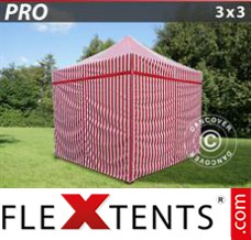 Folding canopy PRO 3x3 m striped, incl. 4 sidewalls