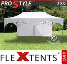 "Folding canopy PRO ""Arched"" 3x6 m White, incl. 6 sidewalls"