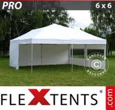 Folding canopy PRO 6x6 m White, incl. 8 sidewalls