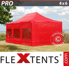 Folding canopy PRO 4x6 m Red, incl. 8 sidewalls