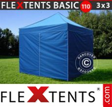 Folding canopy Basic 110, 3x3 m Blue, incl. 4 sidewalls