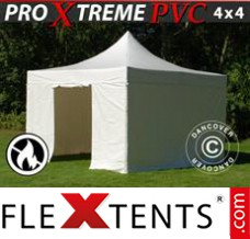 Folding canopy Xtreme Heavy Duty 4x4 m White, Incl. 4 sidewalls