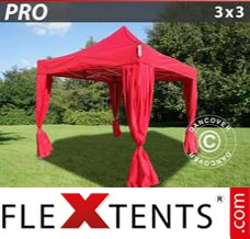 Folding canopy PRO 3x3 m Red, incl. 4 decorative curtains