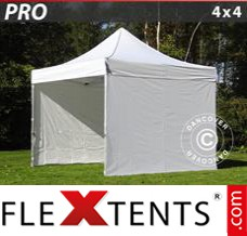 Folding canopy PRO 4x4 m White, incl. 4 sidewalls