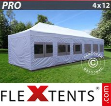 Folding canopy PRO 4x12 m White, incl. sidewalls
