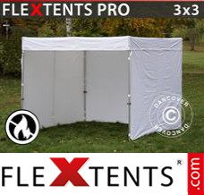 Folding canopy PRO Exhibition w/sidewalls, 3x3 m, White, Flame...