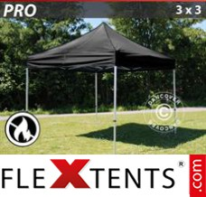 Folding canopy PRO 3x3 m Black, Flame retardant